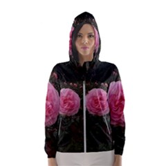 Pink Rose Field Ii Women s Hooded Windbreaker