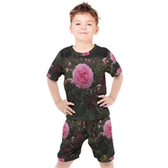 Pink Rose Field Ii Kids  Tee And Shorts Set