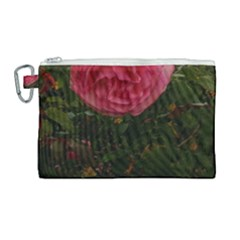 Round Pink Rose Canvas Cosmetic Bag (large)