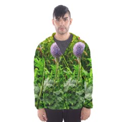 Purple Spherical Flower Men s Hooded Windbreaker
