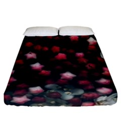 Floral Stars -dark Red Fitted Sheet (california King Size) by okhismakingart