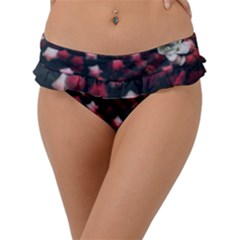 Floral Stars  Dark Red Frill Bikini Bottom