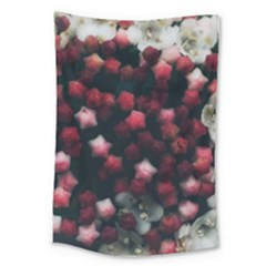 Floral Stars  Dark Red Large Tapestry by okhismakingart