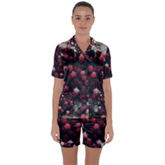 Floral Stars  Dark Red Satin Short Sleeve Pyjamas Set