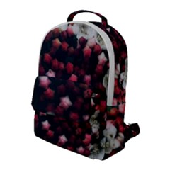 Floral Stars  Dark Red Flap Pocket Backpack (large)