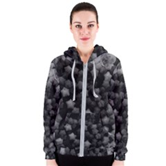 Floral Stars  Black And White Women s Zipper Hoodie by okhismakingart
