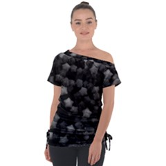 Floral Stars  Black And White Tie Up Tee by okhismakingart