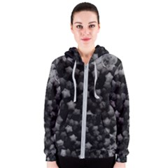 Floral Stars  Black And White, High Contrast Women s Zipper Hoodie by okhismakingart