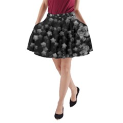 Floral Stars  Black And White, High Contrast A Line Pocket Skirt