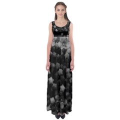 Floral Stars  Black And White, High Contrast Empire Waist Maxi Dress
