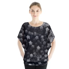 Floral Stars  Black And White, High Contrast Batwing Chiffon Blouse by okhismakingart
