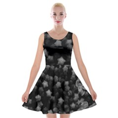Floral Stars  Black And White, High Contrast Velvet Skater Dress by okhismakingart