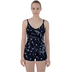 Floral Stars  Black And White, High Contrast Tie Front Two Piece Tankini