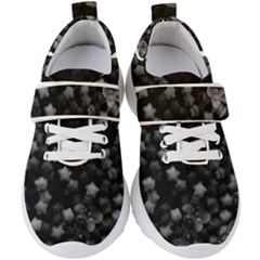 Floral Stars  Black And White, High Contrast Kids  Velcro Strap Shoes