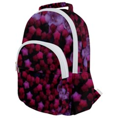 Floral Stars  Purple Rounded Multi Pocket Backpack