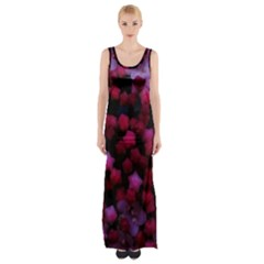Floral Stars  Purple Maxi Thigh Split Dress