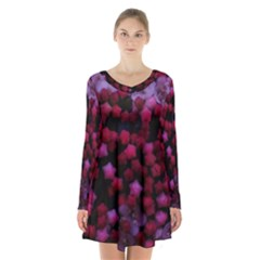 Floral Stars  Purple Long Sleeve Velvet V Neck Dress by okhismakingart