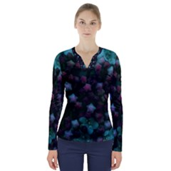 Floral Stars  Blue V Neck Long Sleeve Top