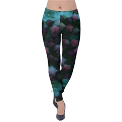 Floral Stars  Blue Velvet Leggings by okhismakingart