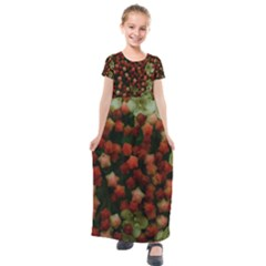 Floral Stars  Yellow Kids  Short Sleeve Maxi Dress