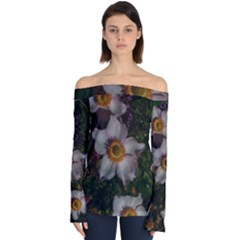 Light Purple Blossoms Off Shoulder Long Sleeve Top by okhismakingart