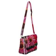 Three Dripping Flowers Shoulder Bag With Back Zipper