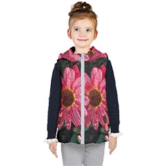 Three Dripping Flowers Kids  Hooded Puffer Vest
