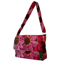 Three Dripping Flowers Full Print Messenger Bag by okhismakingart