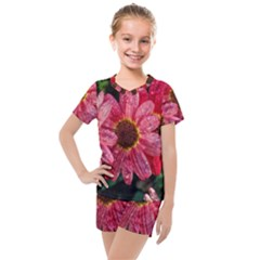 Three Dripping Flowers Kids  Mesh Tee And Shorts Set