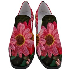 Three Dripping Flowers Slip On Heel Loafers