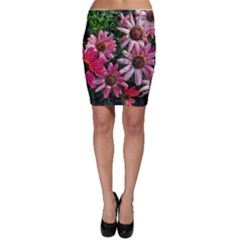 Pink Asters Bodycon Skirt