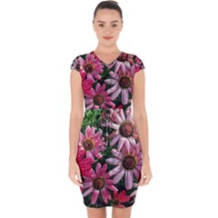 Pink Asters Capsleeve Drawstring Dress