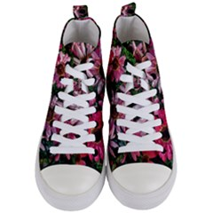 Pink Asters Women s Mid Top Canvas Sneakers