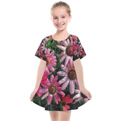 Pink Asters Kids  Smock Dress