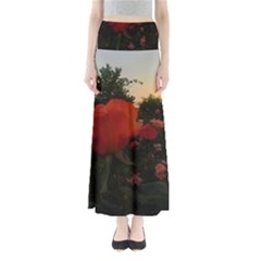 Rose Landscape Full Length Maxi Skirt