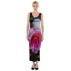 Spiral Rose Fitted Maxi Dress by okhismakingart