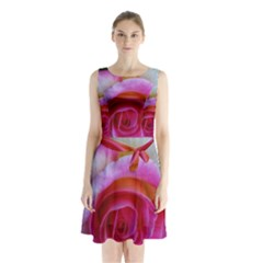 Spiral Rose Sleeveless Waist Tie Chiffon Dress