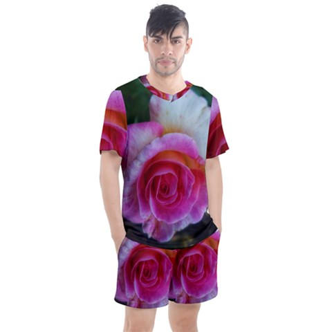 Spiral Rose Men s Mesh Tee And Shorts Set by okhismakingart
