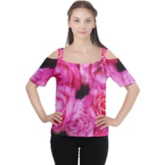 Pink Roses Cutout Shoulder Tee