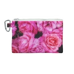 Pink Roses Canvas Cosmetic Bag (medium)