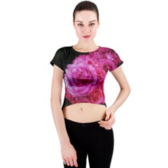 Bunches Of Roses (close Up) Crew Neck Crop Top