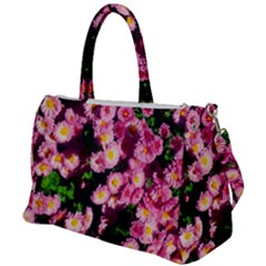 Pink Flower Bushes Duffel Travel Bag