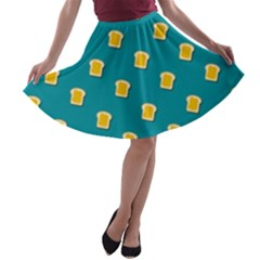 Toast With Cheese Pattern Turquoise Green Background Retro Funny Food A Line Skater Skirt by genx