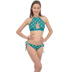 Toast With Cheese Pattern Turquoise Green Background Retro Funny Food Cross Front Halter Bikini Set by genx
