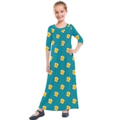 Toast With Cheese Pattern Turquoise Green Background Retro Funny Food Kids  Quarter Sleeve Maxi Dress by genx