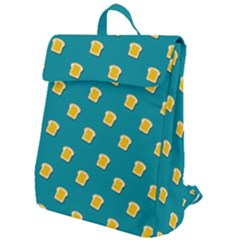 Toast With Cheese Pattern Turquoise Green Background Retro Funny Food Flap Top Backpack by genx