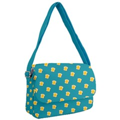 Toast With Cheese Pattern Turquoise Green Background Retro Funny Food Courier Bag