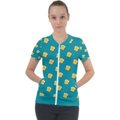 Toast With Cheese Pattern Turquoise Green Background Retro Funny Food Short Sleeve Zip Up Jacket by genx
