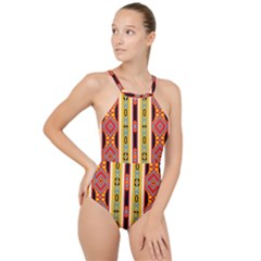 Rhombus And Stripes          High Neck One Piece Swimsuit by LalyLauraFLM