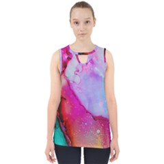 Red Purple Green Ink            Cut Out Tank Top
